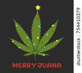 merry juana cannabis leaf tree...   Shutterstock .eps vector #754410379