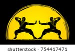 kung fu action ready to fight... | Shutterstock .eps vector #754417471
