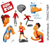 run watercolor set. running ... | Shutterstock . vector #754417489