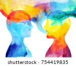 human speaking and listening...   Shutterstock . vector #754419835