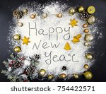 christmas new year composition... | Shutterstock . vector #754422571