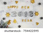 christmas new year composition... | Shutterstock . vector #754422595
