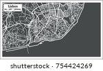 lisbon portugal map in retro... | Shutterstock . vector #754424269