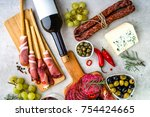 variety food on table  wine ... | Shutterstock . vector #754424665