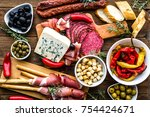 table with food  tapas bar from ... | Shutterstock . vector #754424671