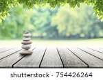 zen stones on empty wooden with ... | Shutterstock . vector #754426264