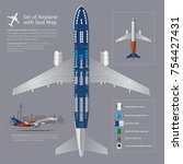 set of airplane with seat map...   Shutterstock .eps vector #754427431