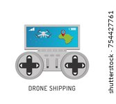 aerial drone with a camera... | Shutterstock .eps vector #754427761