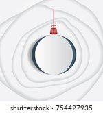 christmas paper ball. vector... | Shutterstock .eps vector #754427935
