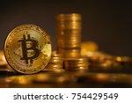 golden bitcoin  conceptual... | Shutterstock . vector #754429549