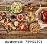 traditional italian vegetarian... | Shutterstock . vector #754431505