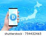 japanese bit coin network...   Shutterstock . vector #754432465