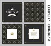 christmas greeting card vector...   Shutterstock .eps vector #754435555