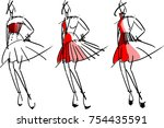 digital painting fashion sketch ... | Shutterstock .eps vector #754435591