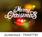 merry christmas and happy new... | Shutterstock .eps vector #754437739