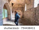 unidentified man visiting... | Shutterstock . vector #754438411