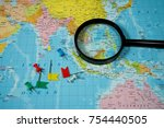 map of asia background | Shutterstock . vector #754440505