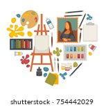 artist painting tools and... | Shutterstock .eps vector #754442029