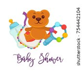baby shower greeting card for... | Shutterstock .eps vector #754442104
