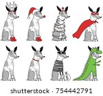 funny spotty dogs in different... | Shutterstock .eps vector #754442791