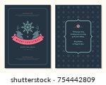 christmas greeting card design... | Shutterstock .eps vector #754442809