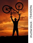 mountain biker silhouette in...   Shutterstock . vector #75445096