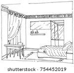 sketch of a moder bedroom... | Shutterstock .eps vector #754452019