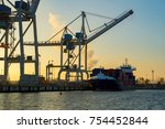 containers loading by crane in... | Shutterstock . vector #754452844