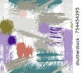 splash brush strokes seamless... | Shutterstock .eps vector #754454395