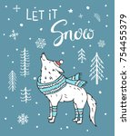 let it snow hand drawn winter... | Shutterstock .eps vector #754455379