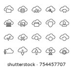 premium set of computer cloud... | Shutterstock .eps vector #754457707