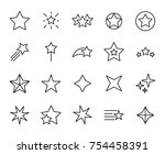 premium set of star line icons. ... | Shutterstock .eps vector #754458391