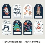 christmas gift tags and cards.... | Shutterstock . vector #754459951