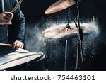 drummer rehearsing on drums... | Shutterstock . vector #754463101