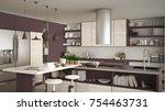 modern wooden kitchen with... | Shutterstock . vector #754463731