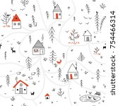 vector seamless pattern with... | Shutterstock .eps vector #754466314