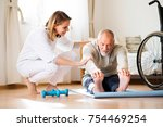 health visitor and a senior man ... | Shutterstock . vector #754469254