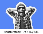 crazy hipster guy emotions.... | Shutterstock . vector #754469431