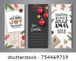 set of christmas cards with... | Shutterstock .eps vector #754469719
