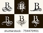 vintage set . capital letter b... | Shutterstock .eps vector #754470901