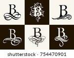 vintage set . capital letter b... | Shutterstock .eps vector #754470901