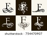 vintage set . capital letter f... | Shutterstock .eps vector #754470907