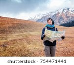 beautiful young woman traveler...   Shutterstock . vector #754471441