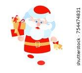 vector flat santa claus walks... | Shutterstock .eps vector #754474831