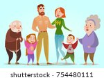 happy family. dad  mom  son ... | Shutterstock .eps vector #754480111