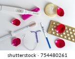 birth control symbol  iud and... | Shutterstock . vector #754480261