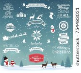 christmas and new year labels | Shutterstock .eps vector #754483021