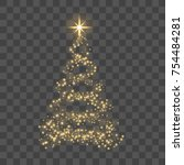 christmas tree on transparent... | Shutterstock .eps vector #754484281