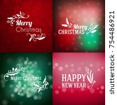 set of merry christmas and... | Shutterstock .eps vector #754486921