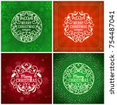 set of merry christmas and... | Shutterstock .eps vector #754487041